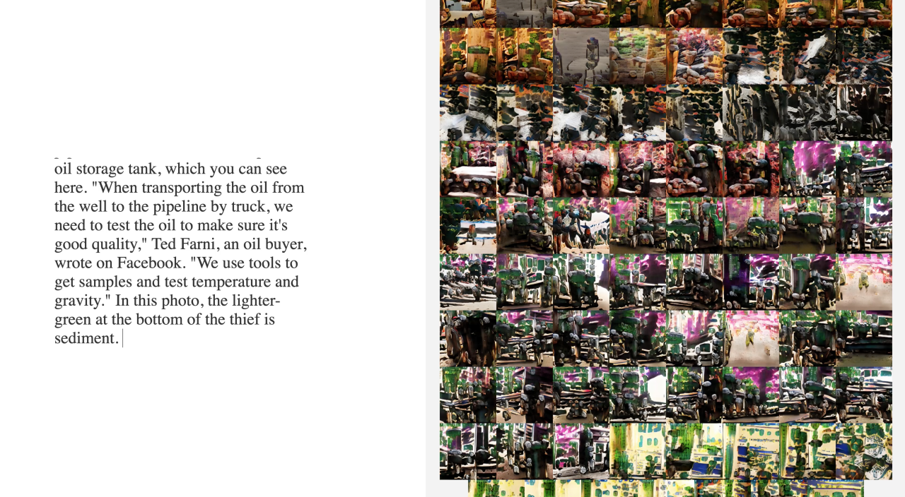 On the right half, there is a block of text. On the left half of the image, there is a grid of unrecognizable abstract smeary images in a range of muddy oranges, yellows, grays, greens, and pinks. The images look like they are blobs of paint.